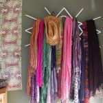 Scarf rack on the wall